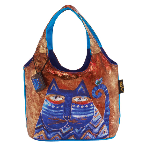 Azul Foiled Canvas Medium Scoop Tote Bags Sun'N'Sand - Laurel Burch Studios
