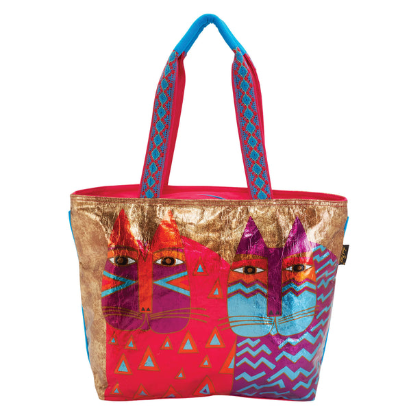 Colorful Wild Cats Foiled Canvas Shoulder Tote Bags Sun'N'Sand - Laurel Burch Studios