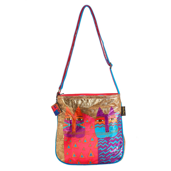 Colorful Wild Cats Foiled Canvas Crossbody Bags Sun'N'Sand - Laurel Burch Studios