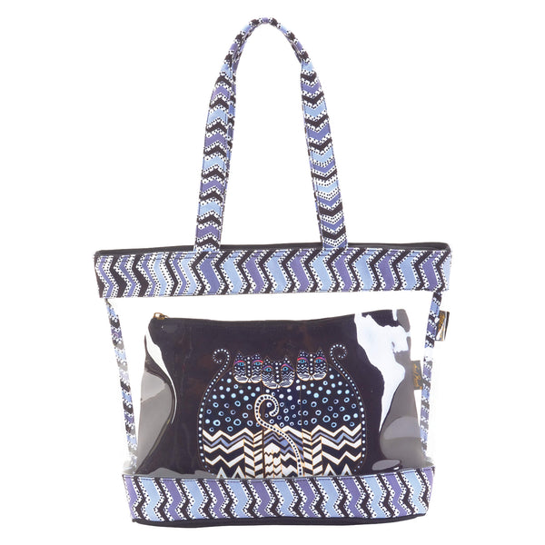 Polka Dot Gatos Clear Travel Tote Bags Sun'N'Sand - Laurel Burch Studios