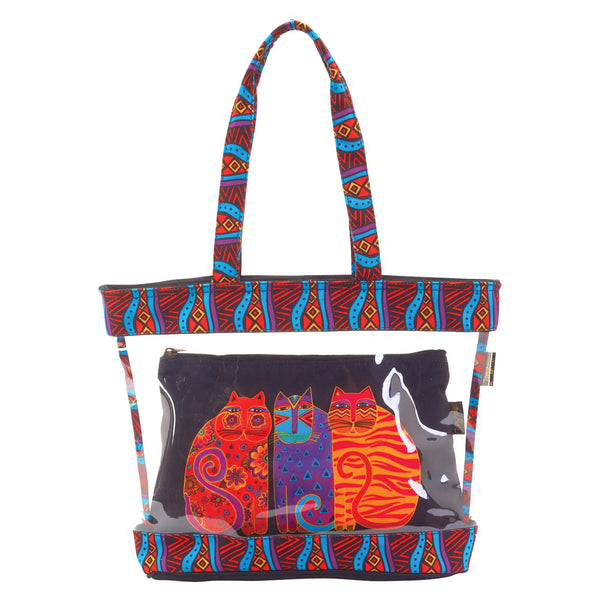 Feline Friends Clear Travel Tote Bags Sun'N'Sand - Laurel Burch Studios