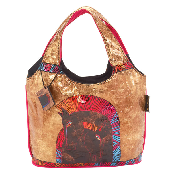 Embracing Horses Foiled Canvas Small Scoop Tote Bags Sun'N'Sand - Laurel Burch Studios