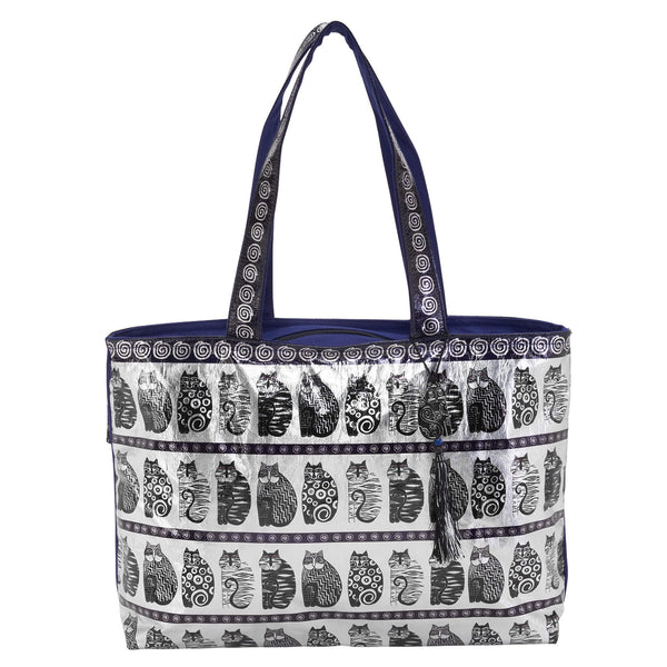 Black & White Foiled Canvas Shoulder Tote Bags Sun'N'Sand - Laurel Burch Studios