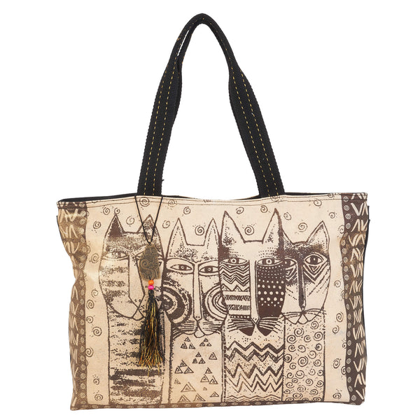 Wild Cat Family Stamp Pattern Shoulder Tote Bags Sun'N'Sand - Laurel Burch Studios
