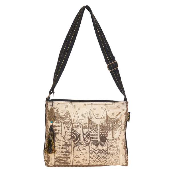 Wild Cat Family Stamp Pattern Crossbody Bags Sun'N'Sand - Laurel Burch Studios