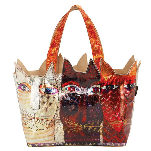Ancestral Cats Foiled Canvas Shoulder Tote Bags Sun'N'Sand - Laurel Burch Studios