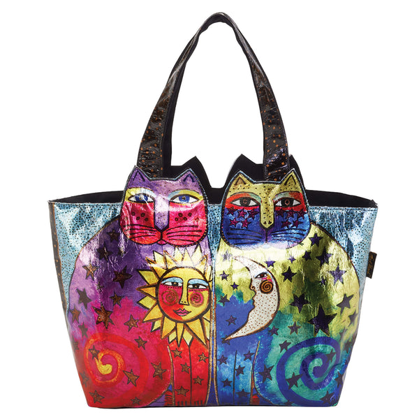 Celestial Felines Foiled Canvas Shoulder Tote Bags Sun'N'Sand - Laurel Burch Studios