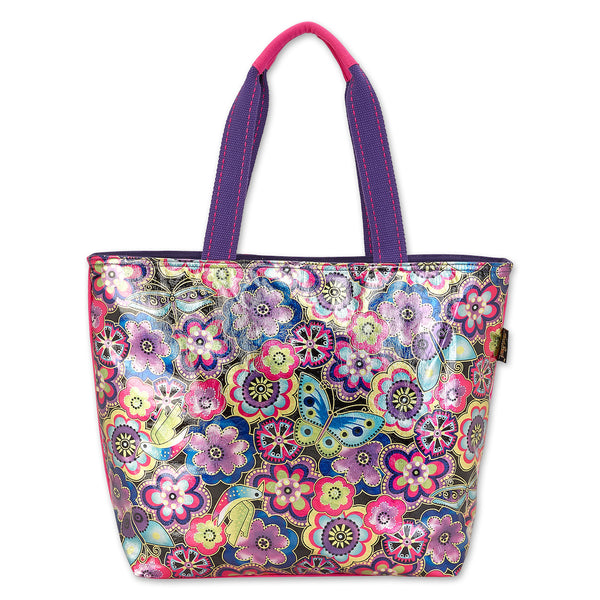 Purple Multi Floral Foiled Canvas Shoulder Tote