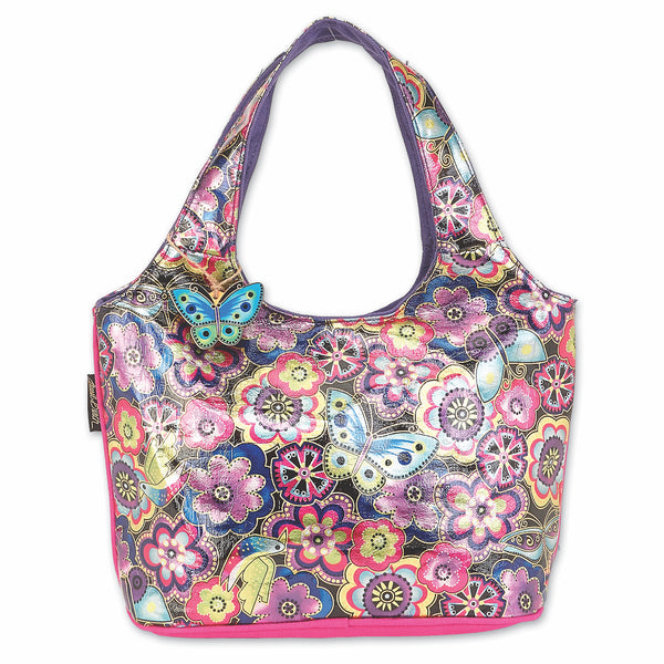 Purple Multi Floral Foiled Canvas Scoop Tote
