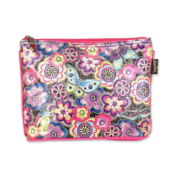 Purple Multi Floral Foiled Canvas Cosmetic Bag