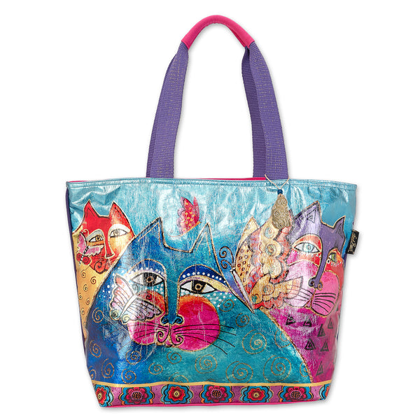 Felines & Flutterbies Foiled Canvas Shoulder Tote