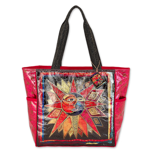 Sun Moon Star Dance Foiled Canvas Shoulder Tote