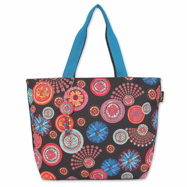 Circle Florals Shoulder Tote