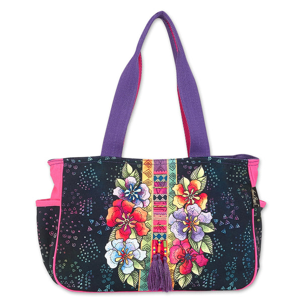 Floral Stamps Medium Tote