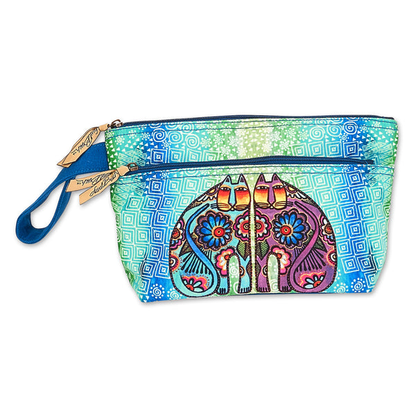 Flower Powered Felines Wristlet