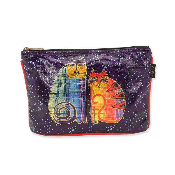 Batik Felines Foiled Canvas Cosmetic Bag