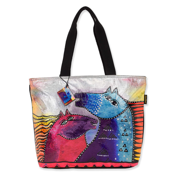 Rainbow Mares Foiled Canvas Shoulder Tote - Large