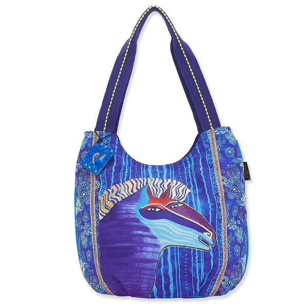 Blue Batik Horse Scoop Tote