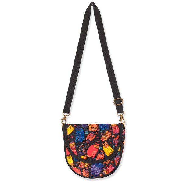 Multicolored Felines Flapover Crossbody - Small