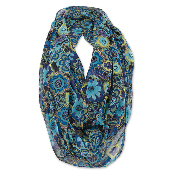 Blue Florals Infinity Scarf