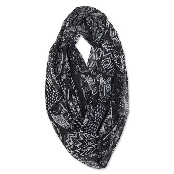 Black and White Wild Cats Infinity Scarf