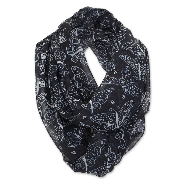 Black and White Butterflies Infinity Scarf