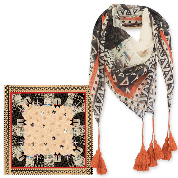 Wild Cats Square Scarf With Tassels Scarves Sun'N'Sand - Laurel Burch Studios