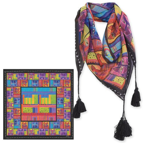 Whiskered Cats Square Scarf With Tassels Scarves Sun'N'Sand - Laurel Burch Studios