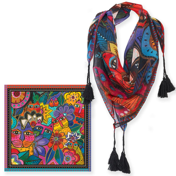 Laurel's Garden Square Scarf With Tassels Scarves Sun'N'Sand - Laurel Burch Studios