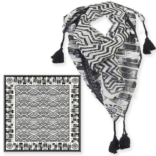 Wild Cats Black & White Square Scarf With Tassels Scarves Sun'N'Sand - Laurel Burch Studios