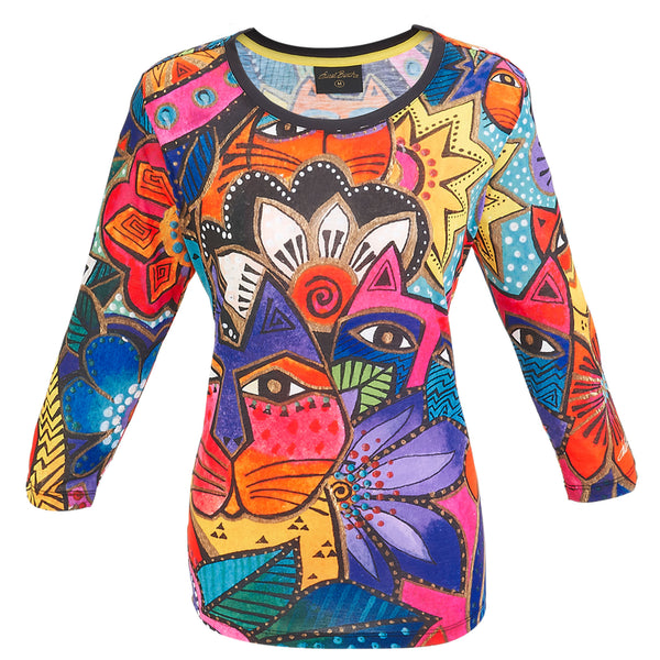 Laurel's Garden 3/4 Sleeve Women's T-Shirt Apparel Sun'N'Sand - Laurel Burch Studios