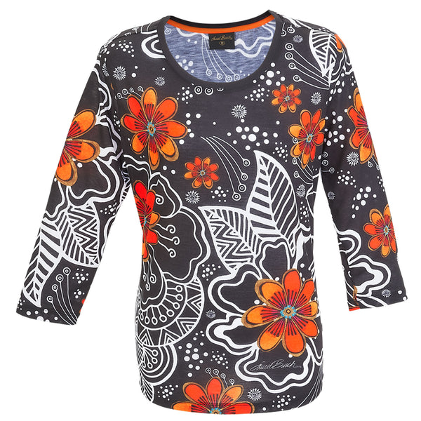 White on Black Floral 3/4 Sleeve Women's T-Shirt Apparel Sun'N'Sand - Laurel Burch Studios