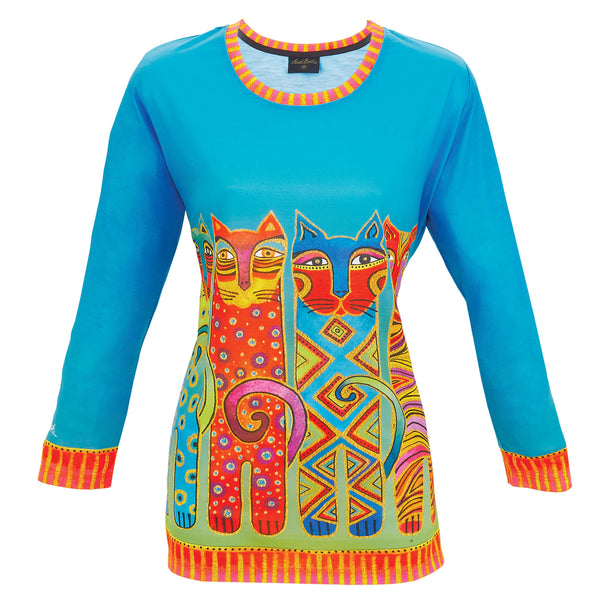 Feline Clan 3/4 Sleeve Women's T-Shirt Apparel Sun'N'Sand - Laurel Burch Studios
