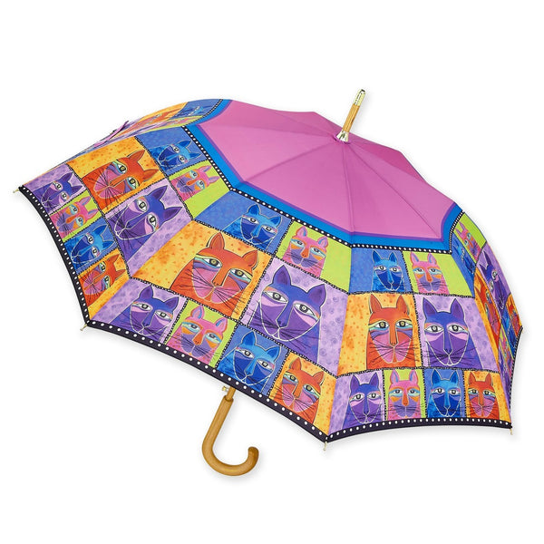 Whiskered Cat Wooden Handle Umbrella Umbrellas Sun'N'Sand - Laurel Burch Studios