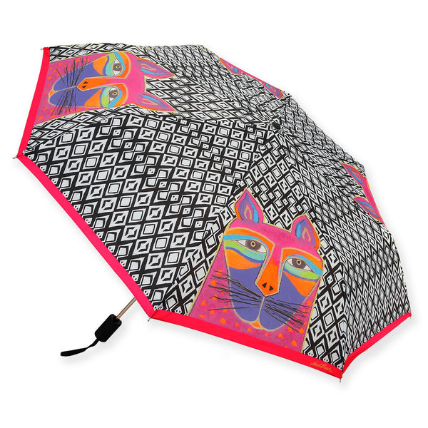 Fushia Whiskered Cat Umbrella Umbrellas Sun'N'Sand - Laurel Burch Studios