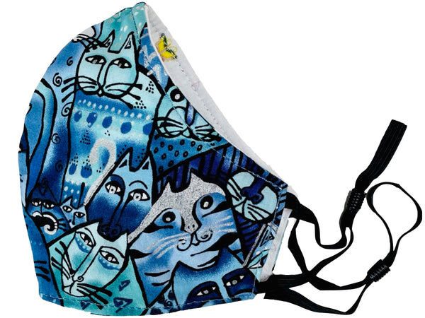 Feline Frolic Reversible Cotton Face Mask - Blue