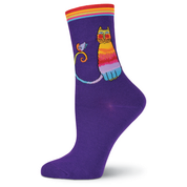 Women's Kit Kat Purple Crew Socks