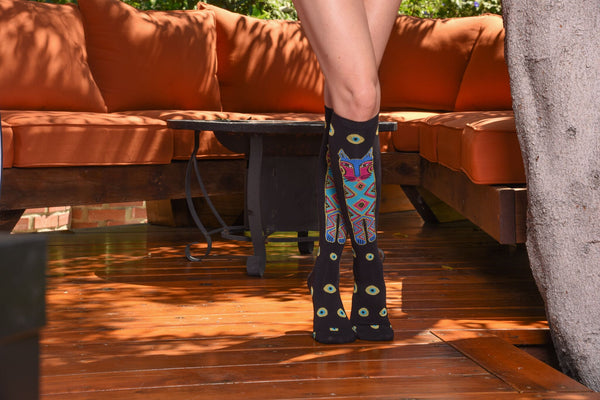 Tall Cats Knee High Socks Women's Socks K. Bell Socks - Laurel Burch Studios