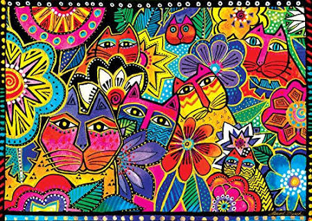 Felines in the Garden 300 Piece Puzzle Puzzles Laurel Burch Studios - Laurel Burch Studios