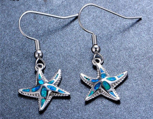 Blue Fire Opal Starfish Earrings