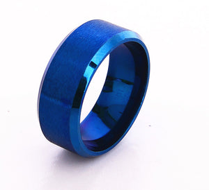 """Colors of the Ocean Deep"" Stainless Steel Ring"