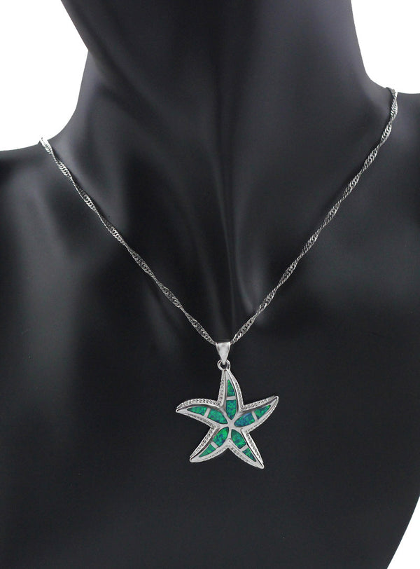 Turquoise Collection: Fire Opal Starfish Pendant