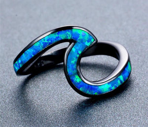 Ocean Wave™ Premium Fire Opal Ring (With Black Gold!)