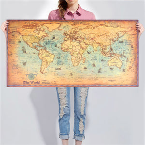 Vintage Nautical World Map
