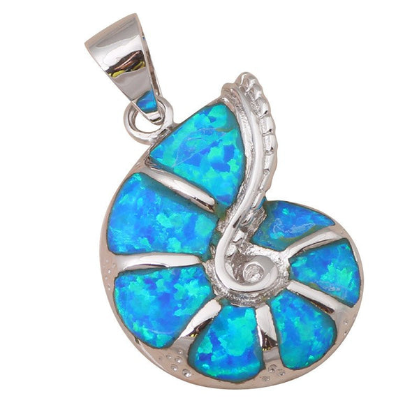 Turquoise Collection: Blue Fire Opal Conch Shell Pendant