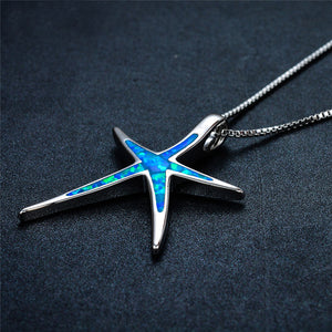 Premium Blue Fire Opal Starfish Pendant (With Sterling Silver!)