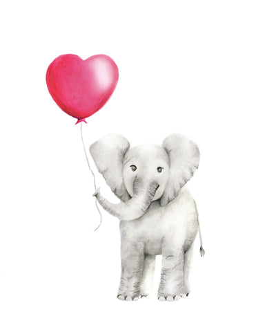Baby Elephant with Heart Balloon