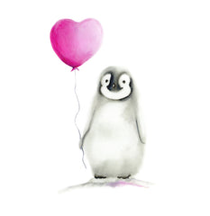 Penguin with pink Heart Balloon artwork