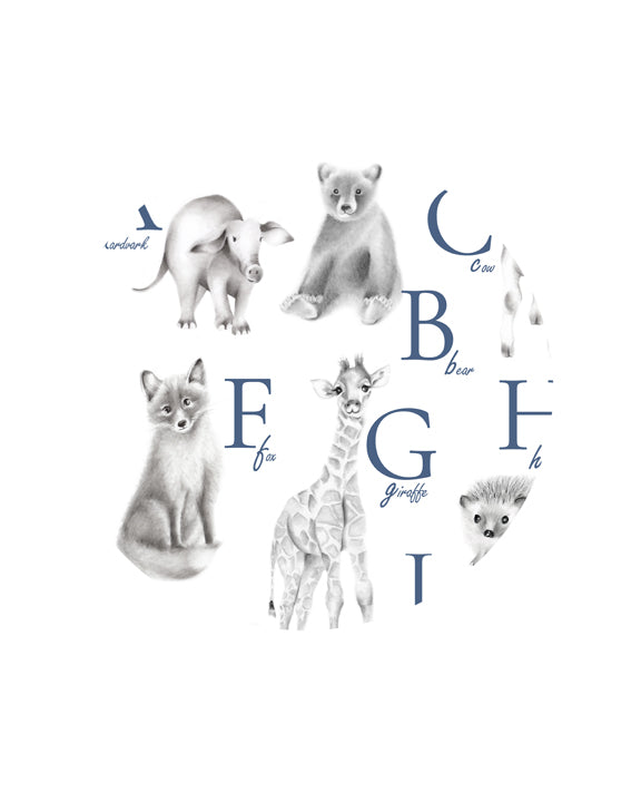 Animal Alphabet Print - Custom Letter Color - Studio Q - Art by Nicky Quartermaine Scott