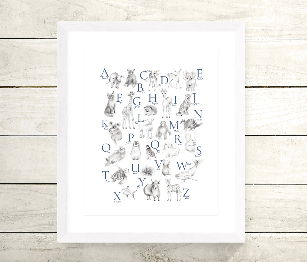 Animal Alphabet Print - Custom Letter Color